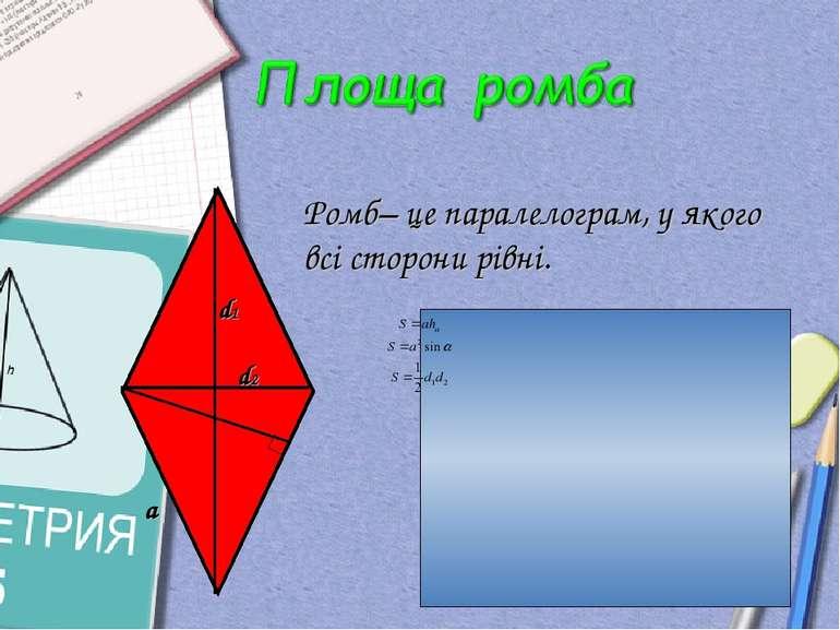 Ромб– це паралелограм, у якого всі сторони рівні. а d1 d2