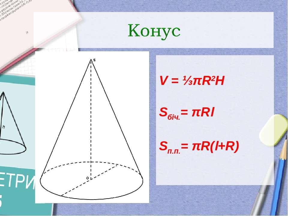 V = ⅓πR2H Sбіч.= πRl Sп.п.= πR(l+R)