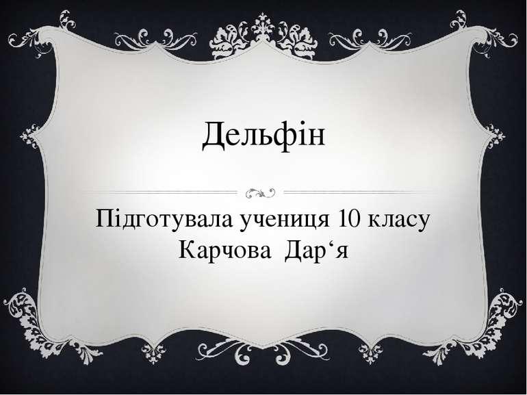 Дельфін Підготувала учениця 10 класу Карчова Дар'я