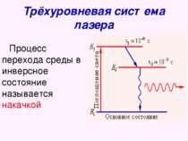 Трёхуровневая система лазера Процесс перехода среды в инверсное состояние наз...