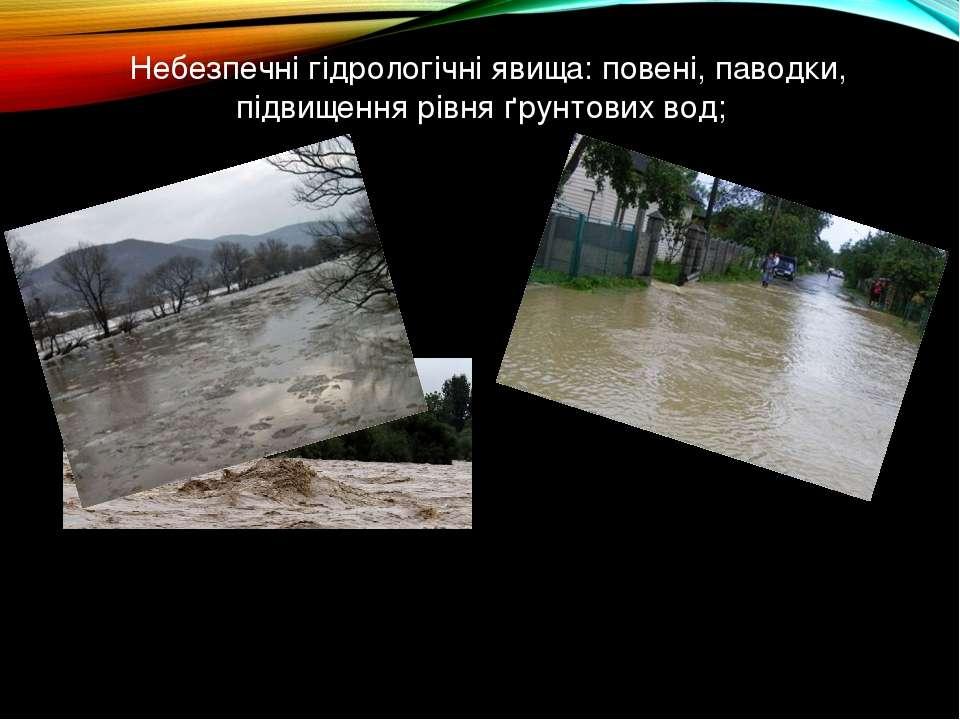 Небезпечні гідрологічні явища: повені, паводки, підвищення рівня ґрунтових вод;