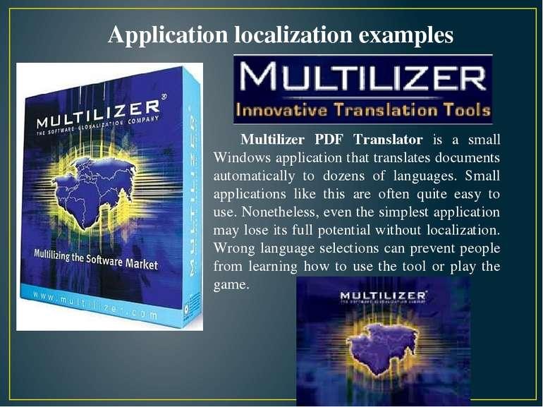Multilizer PDF Translator is a small Windows application that translates docu...