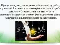 Процес консультування являє собою сумісну роботу консультанта й клієнта з мет...