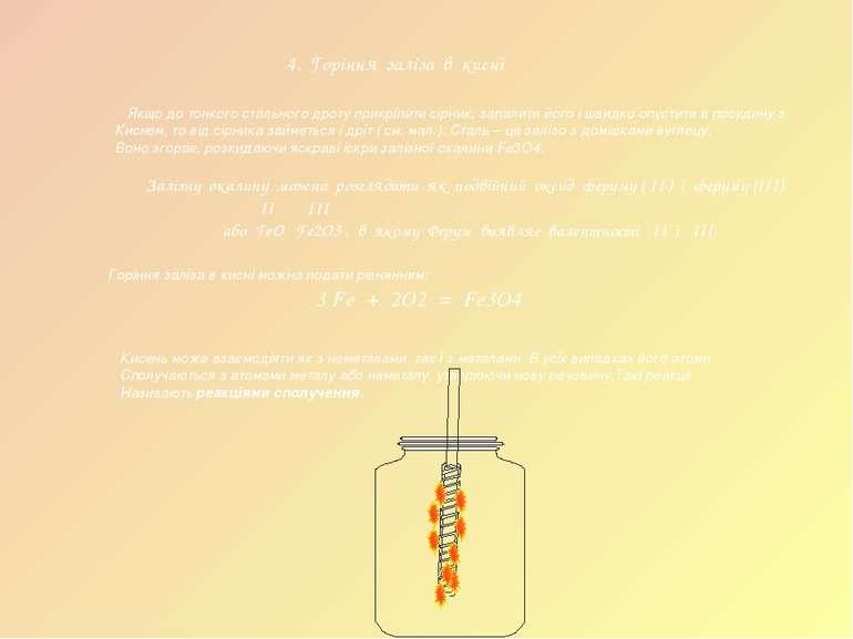 4. Горіння заліза в кисні Якщо до тонкого стального дроту прикріпити сірник, ...