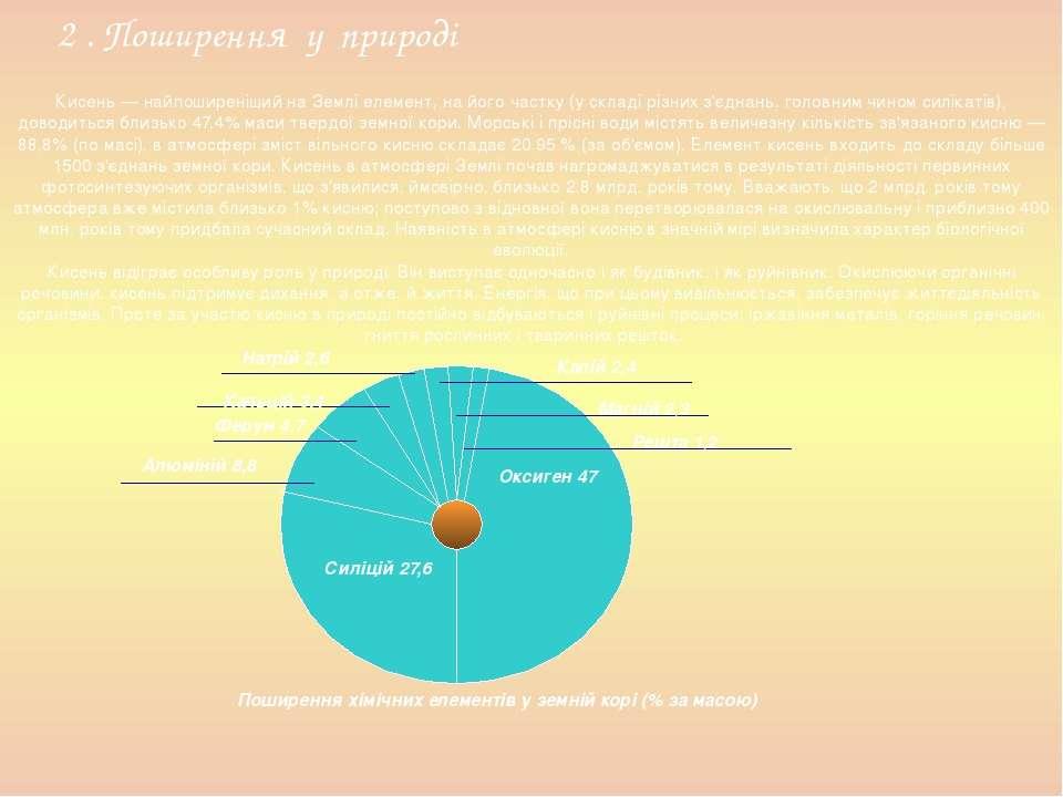 Кисень — найпоширеніший на Землі елемент, на його частку (у складі різних з'є...