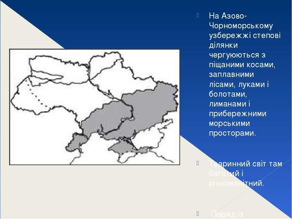 На Азово-Чорноморському узбережжі степові ділянки чергуюються з піщаними коса...