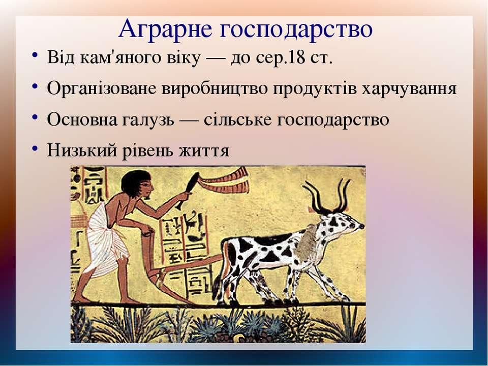 Аграрне господарство Від кам'яного віку — до сер.18 ст. Організоване виробниц...