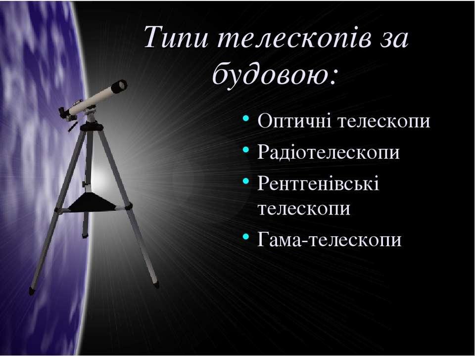 Типи телескопів за будовою: Оптичні телескопи Радіотелескопи Рентгенівські те...