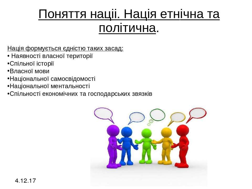 4.12.17 Поняття нацii. Нацiя етнiчна та полiтична. Нація формується єдністю т...
