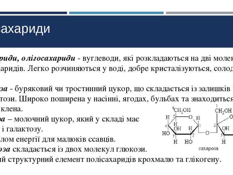 Дисахариди Дисахариди, олігосахариди - вуглеводи, які розкладаються на дві мо...