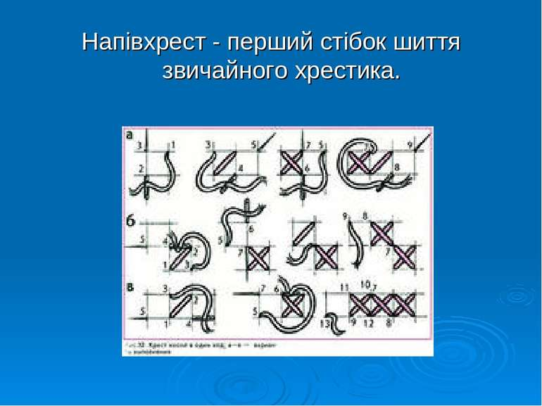 Напівхрест - перший стібок шиття звичайного хрестика.