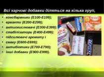 Всі харчові добавки діляться на кілька груп, до яких відносяться: консбарвник...