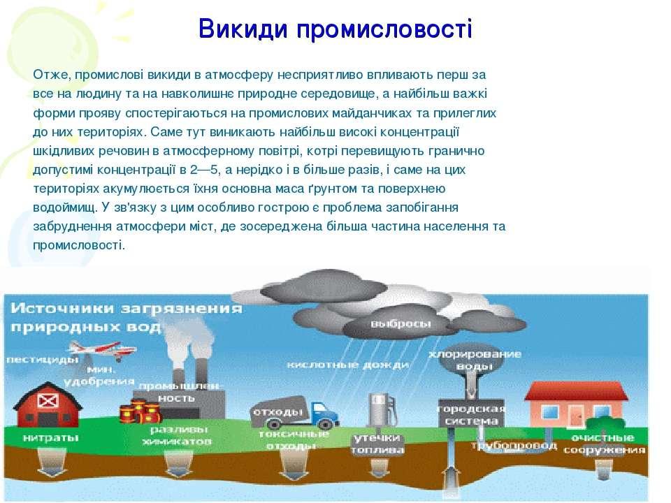 Викиди промисловості Отже, промислові викиди в атмосферу несприятливо впливаю...
