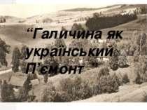 """""""Галичина як український П'ємонт"""""""