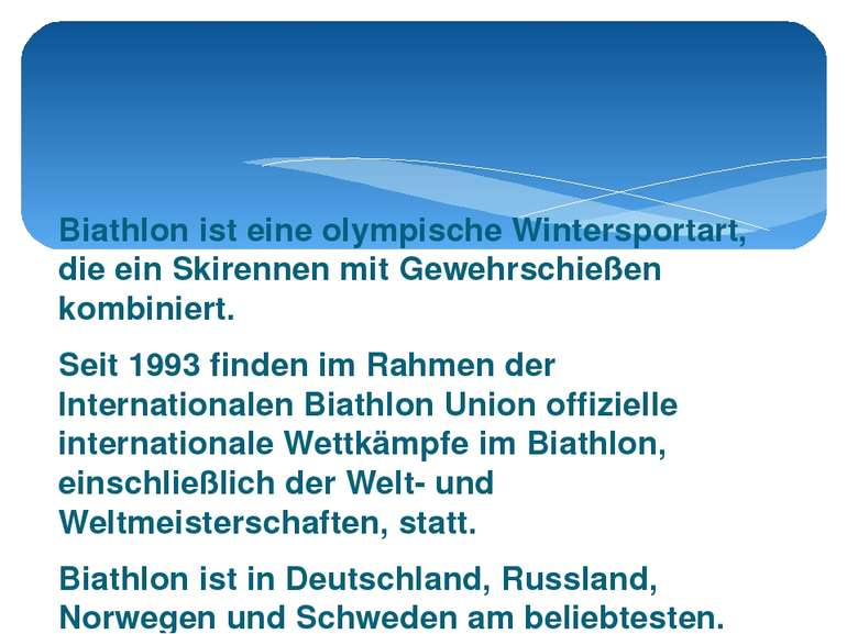 Biathlon ist eine olympische Wintersportart, die ein Skirennen mit Gewehrschi...