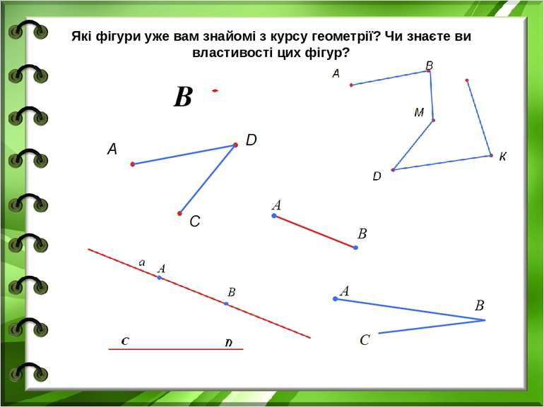 B Які фігури уже вам знайомі з курсу геометрії? Чи знаєте ви властивості цих ...