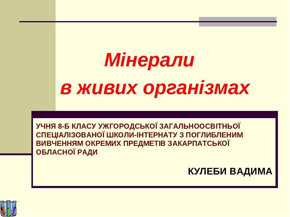 Мінерали в живих організмах УЧНЯ 8-Б КЛАСУ УЖГОРОДСЬКОЇ ЗАГАЛЬНООСВІТНЬОЇ СПЕ...
