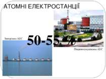АТОМНІ ЕЛЕКТРОСТАНЦІЇ Запорізька АЕС Південноукраїнська АЕС 50-55 %