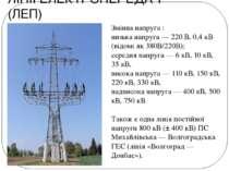 ЛІНІЇ ЕЛЕКТРОПЕРЕДАЧ (ЛЕП) Змінна напруга : низька напруга— 220 В, 0,4 кВ (в...