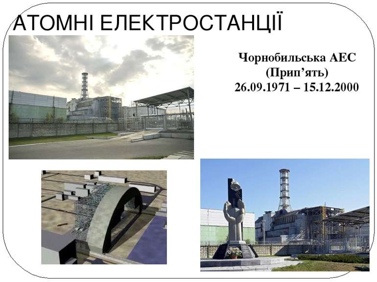 АТОМНІ ЕЛЕКТРОСТАНЦІЇ Чорнобильська АЕС (Прип'ять) 26.09.1971 – 15.12.2000