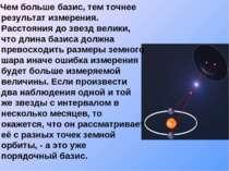 Чем больше базис, тем точнее результат измерения. Расстояния до звезд велики,...