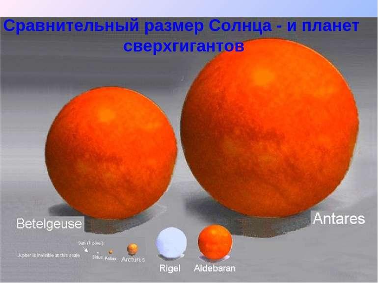 Сравнительный размер Солнца - и планет сверхгигантов
