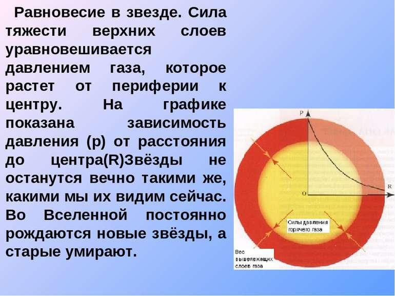 Равновесие в звезде. Сила тяжести верхних слоев уравновешивается давлением га...