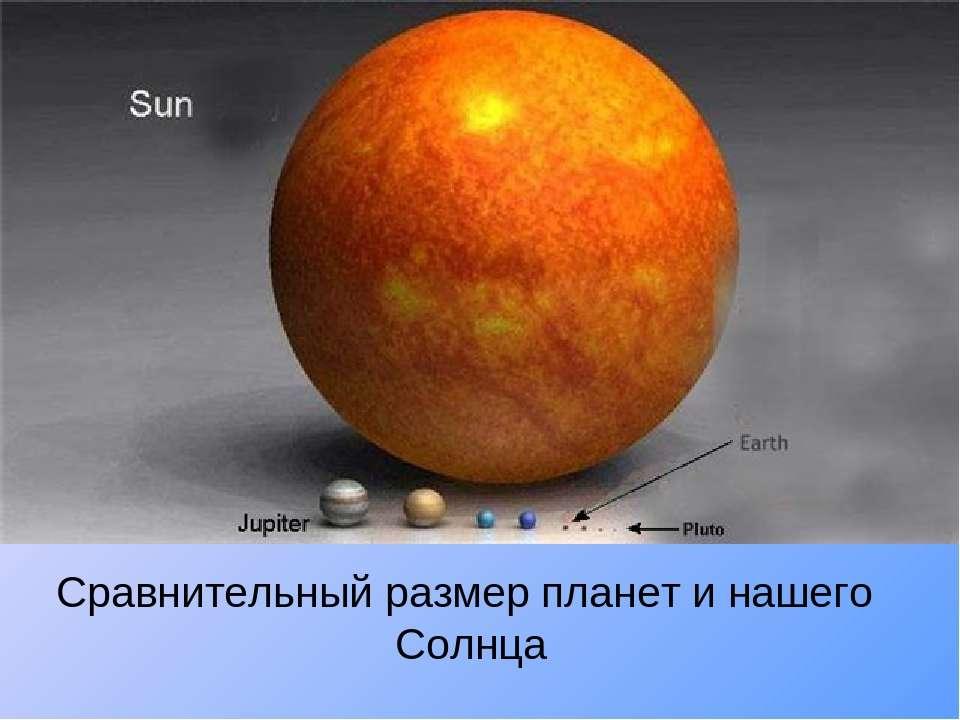 Сравнительный размер планет и нашего Солнца