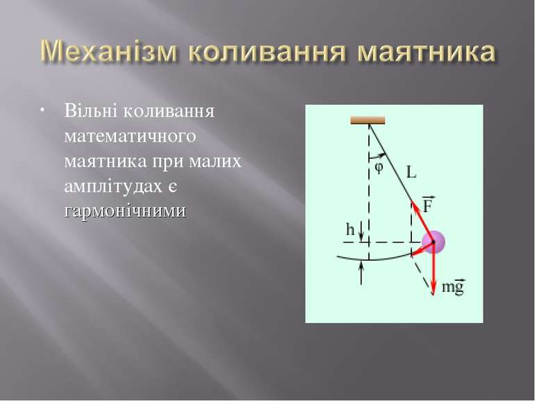 Вільні коливання математичного маятника при малих амплітудах є гармонічними