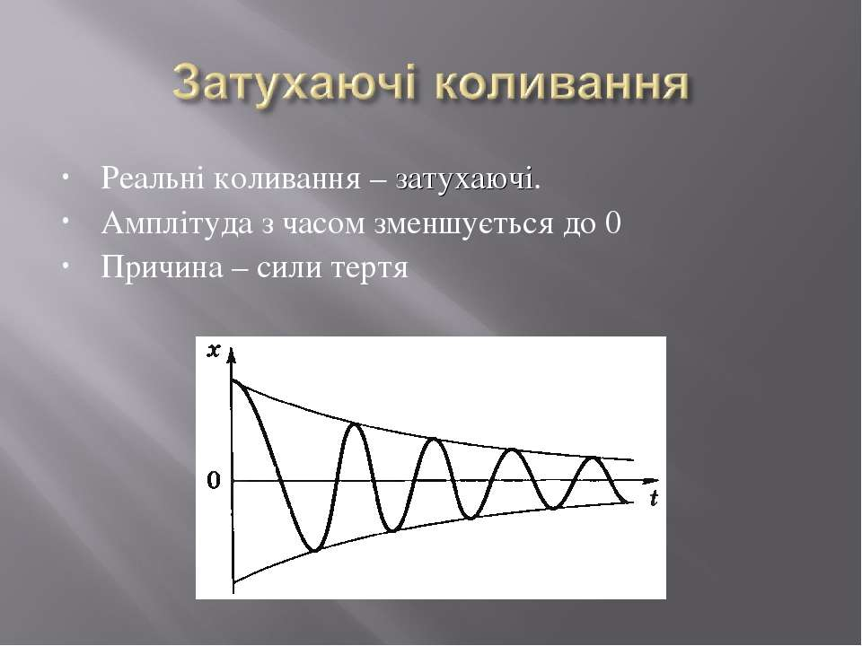 Реальні коливання – затухаючі. Амплітуда з часом зменшується до 0 Причина – с...