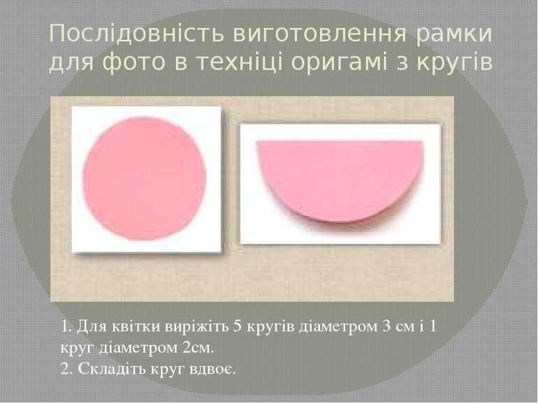 Послiдовнiсть виготовлення рамки для фото в техніці оригамі з кругів 1. Для к...