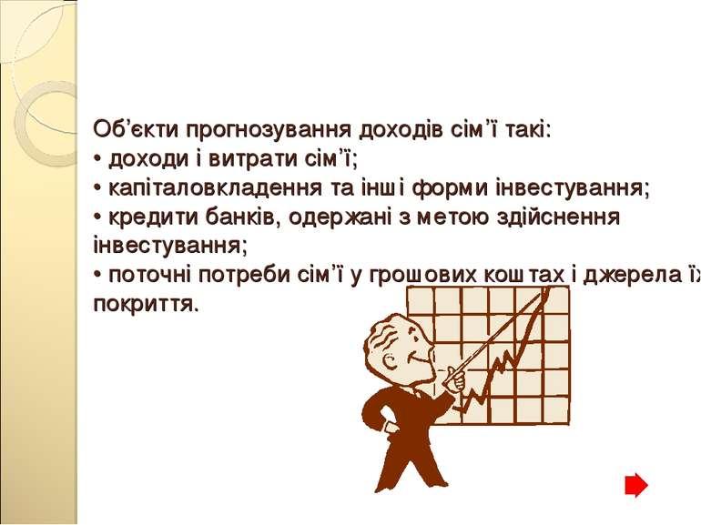 Об'єкти прогнозування доходів сім'ї такі: • доходи і витрати сім'ї; • капітал...