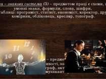 Людина – знакова система(З)– предметом праці є схеми, цифри, умовні знаки, ...