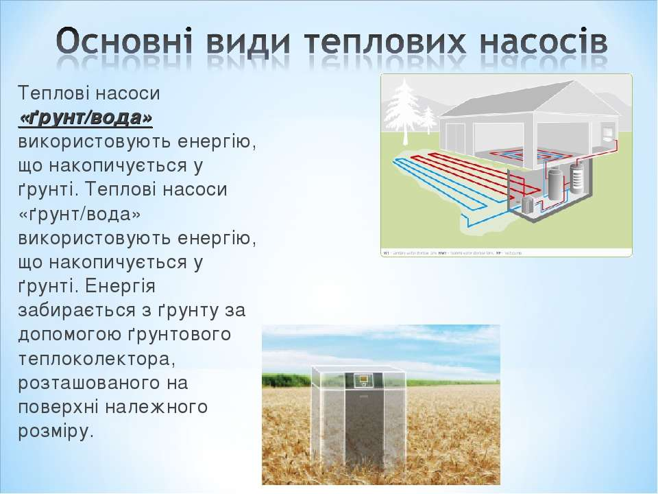 Теплові насоси «ґрунт/вода» використовують енергію, що накопичується у ґрунті...