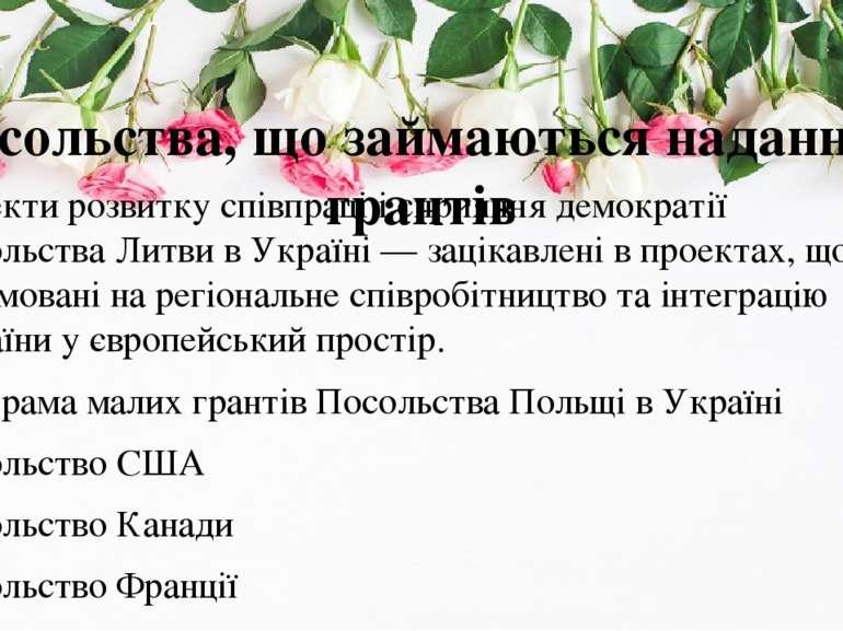 Посольства, що займаються наданням грантів Проекти розвитку співпраці i сприя...