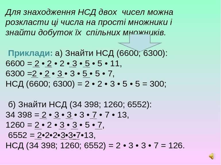 Для знаходження НСД двох чисел можна розкласти ці числа на прості множники і ...