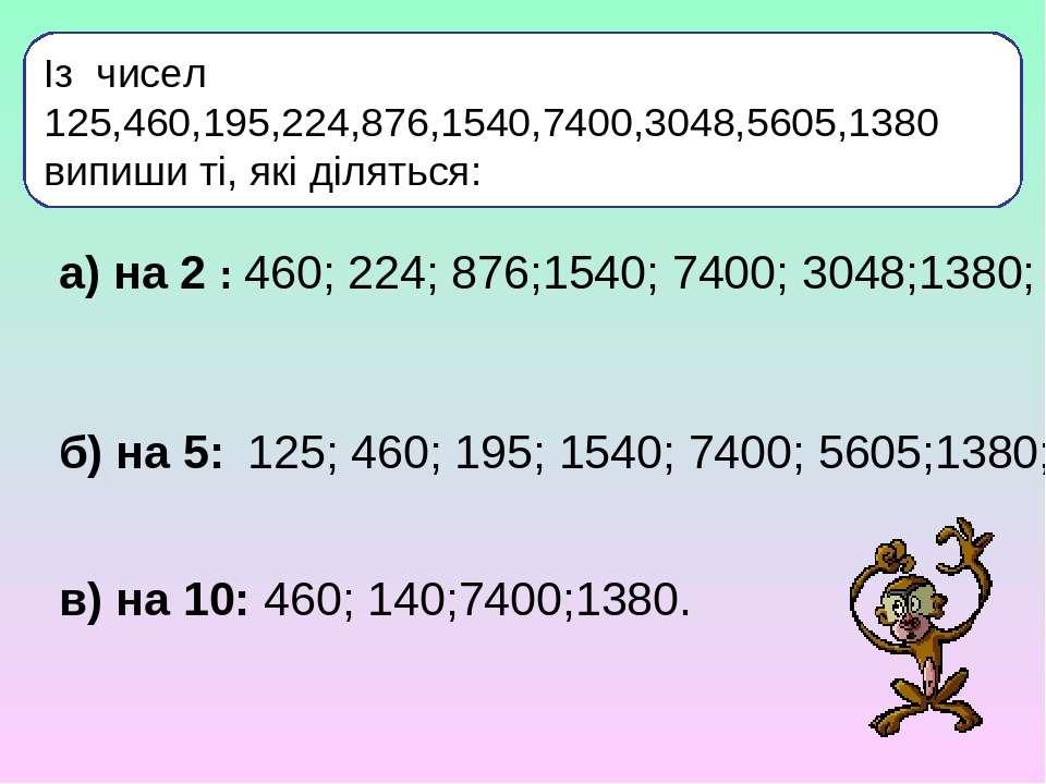 Із чисел 125,460,195,224,876,1540,7400,3048,5605,1380 випиши ті, які діляться...