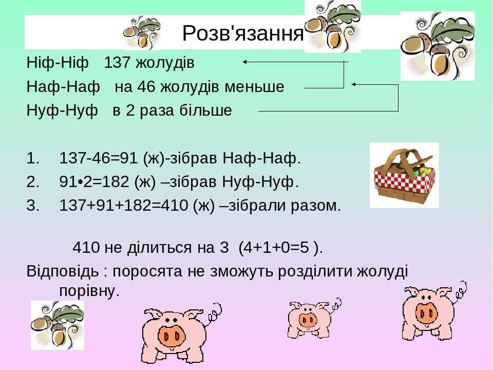 Розв'язання. Ніф-Ніф 137 жолудів Наф-Наф на 46 жолудів меньше Нуф-Нуф в 2 раз...