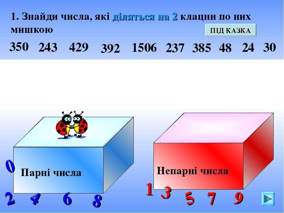 1. Знайди числа, які діляться на 2 клацни по них мишкою Парні числа Непарні ч...