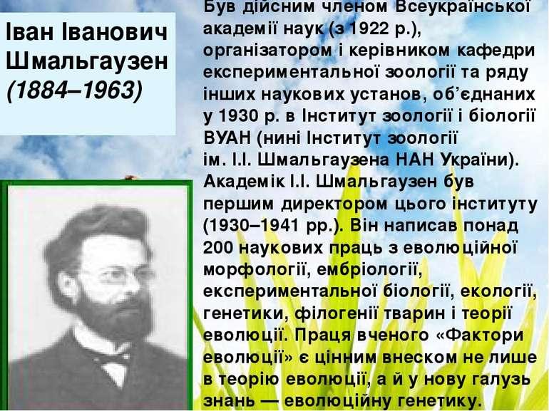 Дякую за увагу! Іван Іванович Шмальгаузен (1884–1963) Був дійсним членом Всеу...
