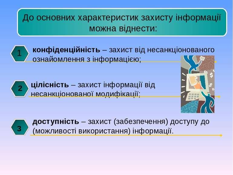 конфіденційність – захист від несанкціонованого ознайомлення з інформацією; 1...