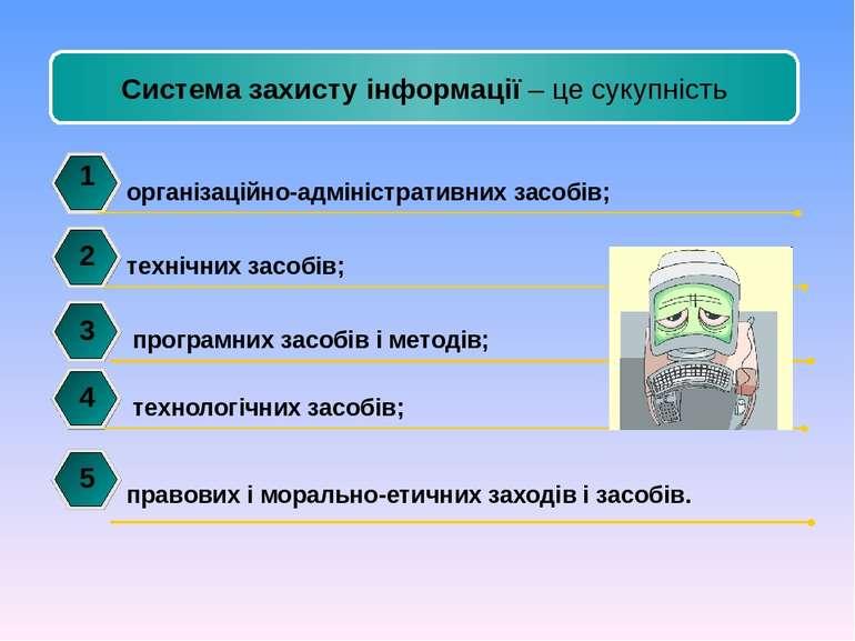 організаційно-адміністративних засобів; 1 2 3 4 Система захисту інформації – ...