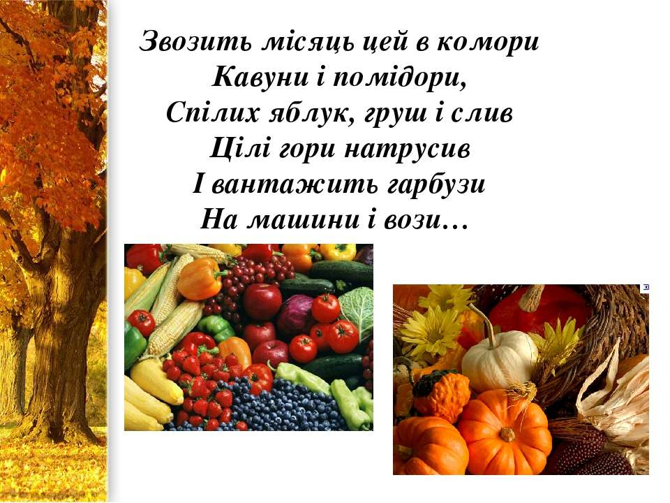 Звозить місяць цей в комори Кавуни і помідори, Спілих яблук, груш і слив Цілі...