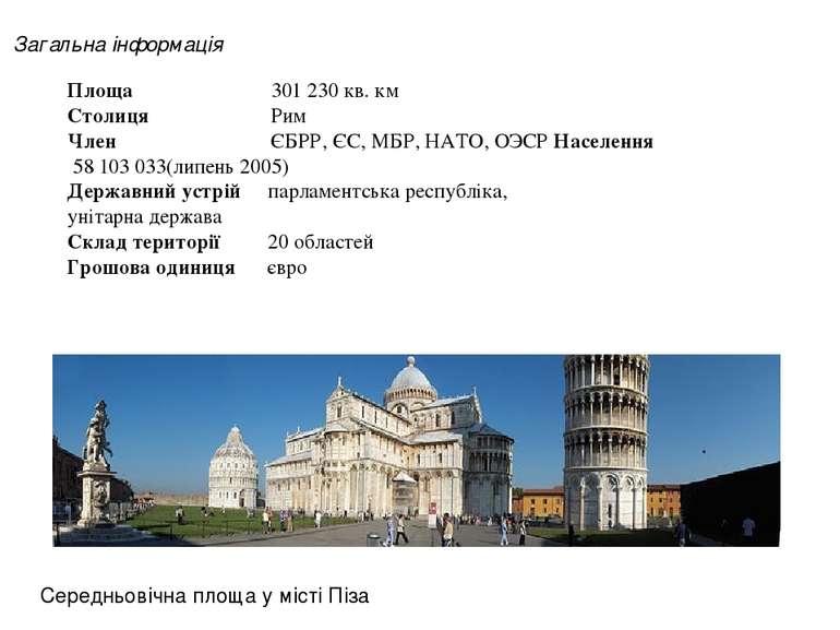 Площа 301 230 кв. км Столиця Рим Член ЄБРР, ЄС, МБР, НАТО, ОЭСР Населення 58 ...