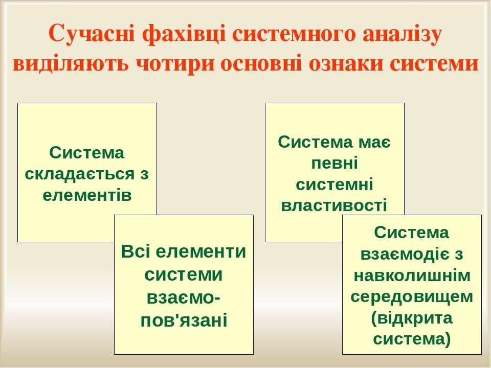 Система має певні системні властивості Сучасні фахівці системного аналізу вид...