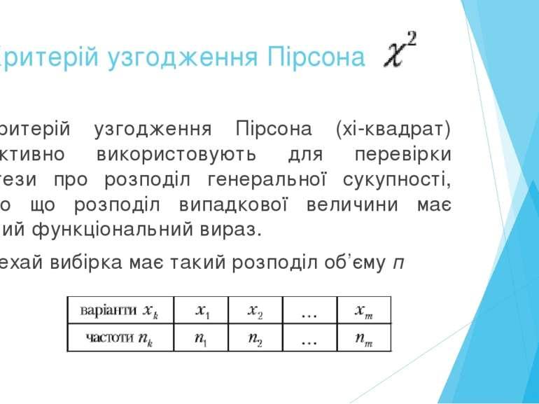 3. Критерій узгодження Пірсона Критерій узгодження Пірсона (xі-квадрат) ефект...