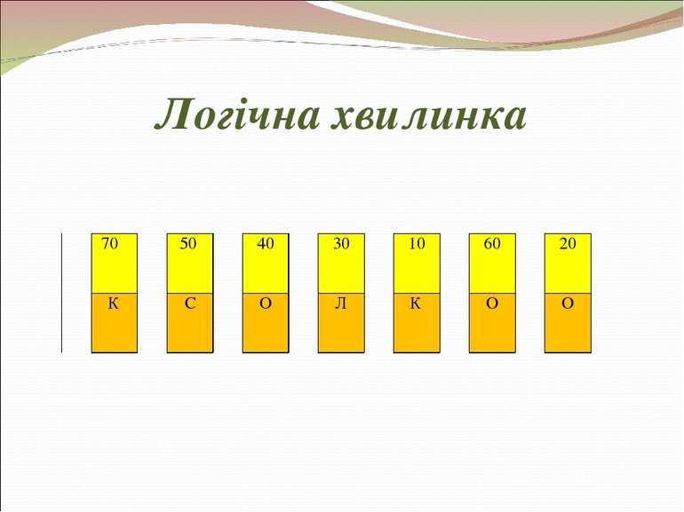Логічна хвилинка 70  50  40  30  10  60  20  К  С  О  Л  К  О  О