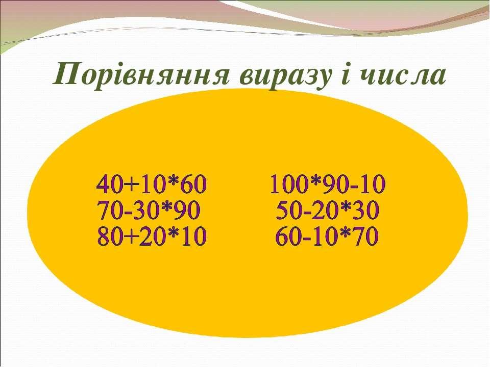 Порівняння виразу і числа