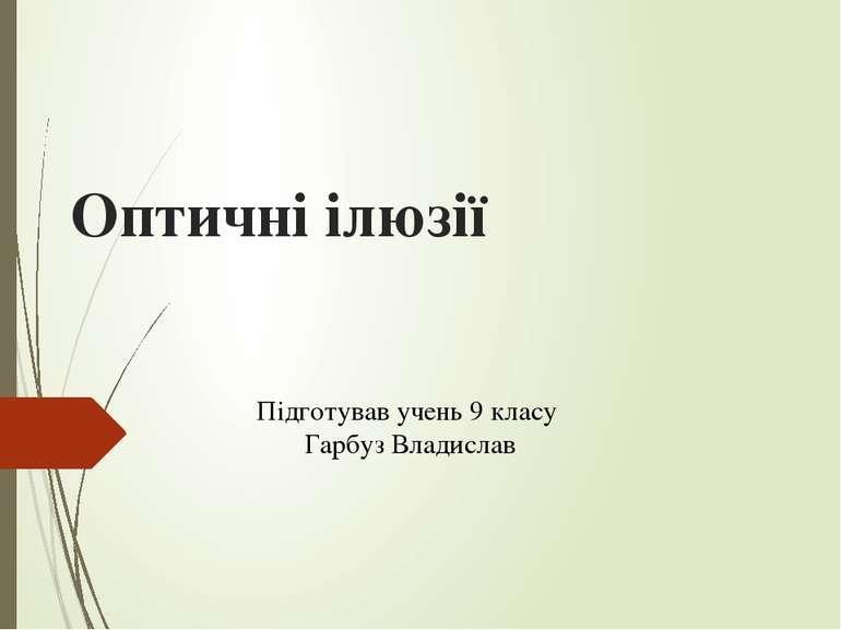Оптичні ілюзії Підготував учень 9 класу Гарбуз Владислав