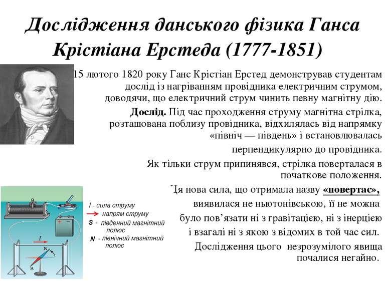 Дослідження данського фізика Ганса Крістіана Ерстеда (1777-1851) 15 лютого 1...
